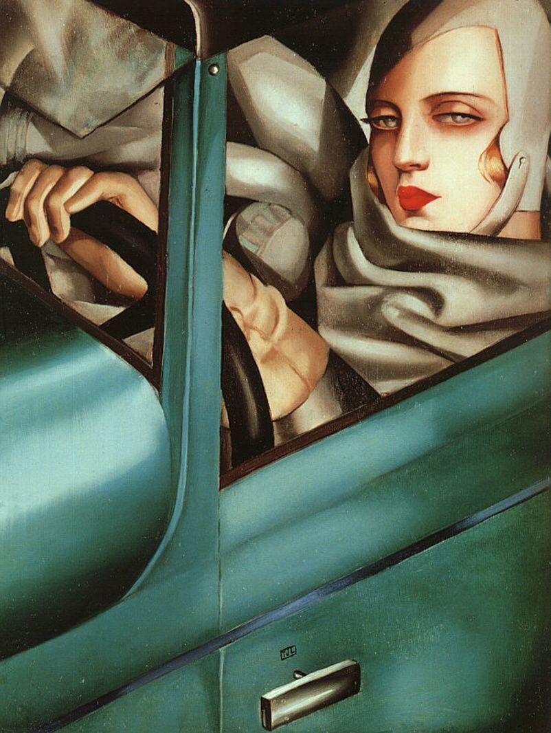 Cuadros deTamara Lempicka Autoretrato, en un Bugatti Verde